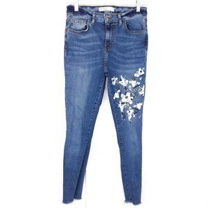 Zara High-Waisted Floral Painted Beaded Jeans
